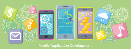 mobile devices: Mobile application development flat design. Mobile apps, mobile technology, mobile phone, mobile devices, web technology, internet app, business phone illustration