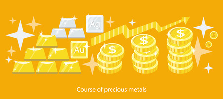 ounce: Course of precious metals flat design. Gold silver, gold bar, wealth and finance, investment business, money currency, treasure and ingot, market exchange illustration
