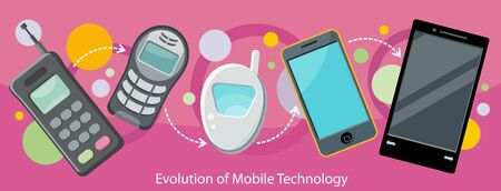 mobile communication: Evolution of mobile technology design flat. Communication telephone, phone modern, cell device, electronic screen, smart and invention, development digital illustration