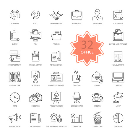 adress book: Set of 32 thin, lines, outline office items icons. Icon set, office icons, business icon set, icons, office, business icons, web icon set, business and finance, office and business. Interface icon