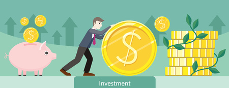 Investment money coin gold design. Investment concept, finance investor, stock market, savings, business bank, currency and wealth, market dollar, treasure and earning illustration