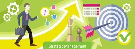 planificacion estrategica: Diseño plano de gestión estratégica. La planificación estratégica, marketing estratégico, el pensamiento estratégico, la visión estratégica, estrategia de negocio, marketing y planificación, finanzas ilustración Vectores