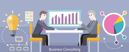 consulting services: Business consulting design flat. Consulting services, business meeting, management and brainstorming, strategy teamwork, people meeting, financial team illustration