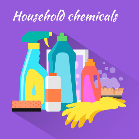 Household chemical flat design. Household appliances, household items, domestic and bottle, equipment clean, housework and housekeeping, soap and detergent illustration