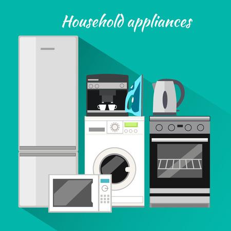 gospodarstwo domowe: Urządzenia gospodarstwa domowego płaska. Artykuły gospodarstwa domowego, pralka, sprzęt kuchenny, wyposażenie i AGD, maszyn i piec, gotować w rodzinie, mikrofalówka ilustracją elektryczny