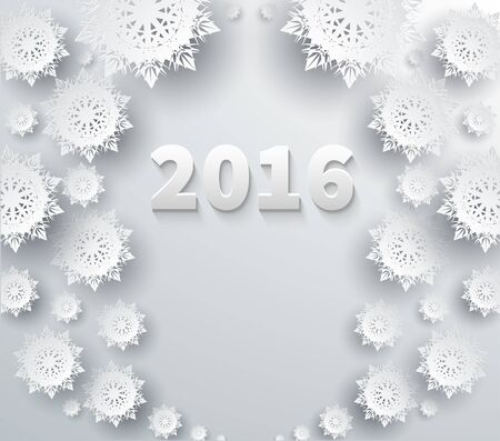 paper: Snowflakes background for winter and new year, christmas theme. Snow, christmas, snowflake background, snowflake winter. 3D paper snowflakes. Happy New Year 2016. Silver snowflake. Snowflakes shadow