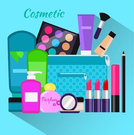 productos de belleza: Conjunto del cosmético objeto de diseño plano. maquillaje de belleza, productos cosméticos, paquete de cosméticos, lápiz labial y el perfume, la moda del balneario, cepillo, producto botella de champú y el glamour, la ilustración en polvo Vectores