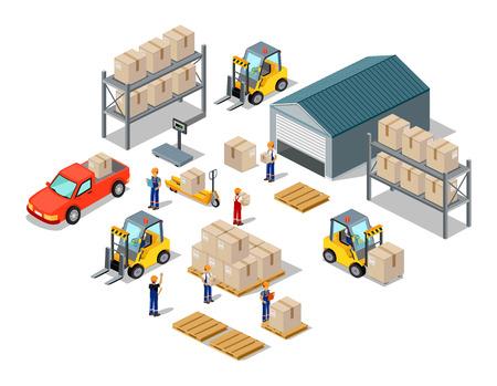 Ikona 3d izometrický proces skladu. Sklad interiér, logisti a továrna, sklad budova, sklad exteriér, obchodní dodávky, skladování nákladu ilustrace
