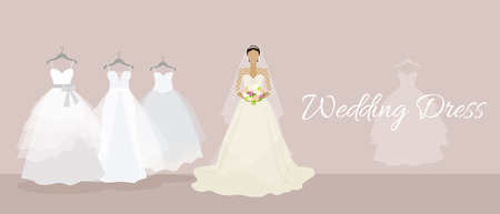 wedding dress: Wedding dress design flat style. Bride fashion, celebration and shower, fabric and holiday, boutique and marriage, glamour woman, corset wear, luxury bouquet, princess illustration