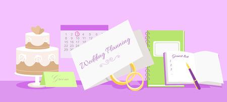 Wedding planning design flat fashion. Wedding planner, event planning, wedding invitation, plan and wedding cake, holiday decoration, marriage event illustration