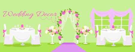 wedding reception decoration: Wedding decor fashion interior. Wedding decoration, wedding table, wedding flowers, wedding design, interior and reception, fashion elegant, event and decoration illustration
