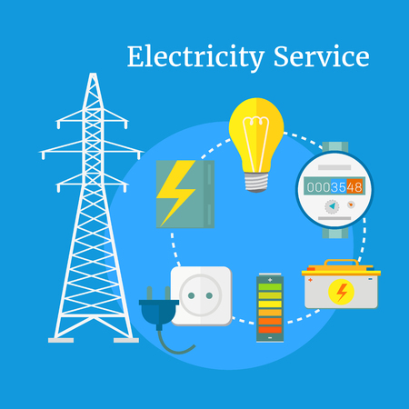 power industry: Electricity service flat design. Electric and energy, electrician and electricity icon, power lightning, light bulb and electronics, technology industry illustration