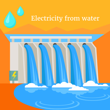power industry: Electricity from water design flat. Energy and water power, hydroelectric and hydro energy, power and ecology, environment nature, technology industry illustration