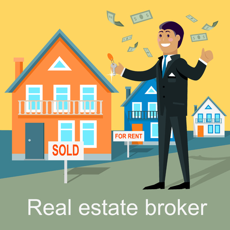 agent: Real estate broker design flat. Real estate agent, house building, property home, rent, sale housing, buy apartment, key and construction illustration