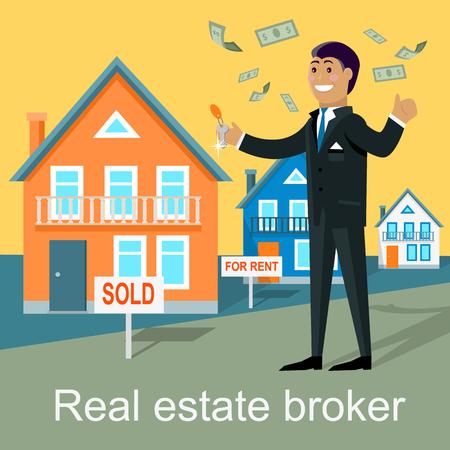 housing estate: Real estate broker design flat. Real estate agent, house building, property home, rent, sale housing, buy apartment, key and construction illustration