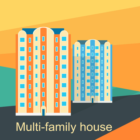 Multi-family house design flat. Apartment and architecture residential, building for family, home urban, construction and city, housing real property, condominium residence illustration Illustration
