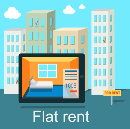 apartment search: Flat rent price design concept flat. Price and business, estate house, rental home building, property residential, deal and money, apartment search illustration