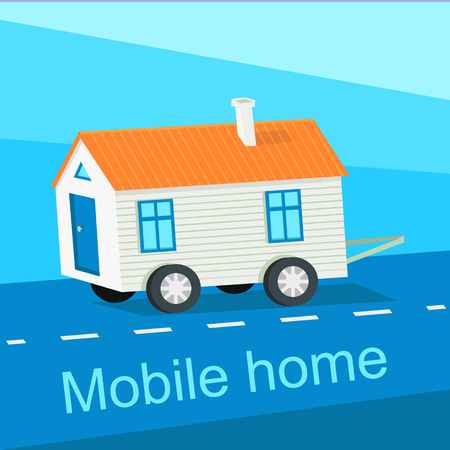 Mobile home flat design banner. Caravan and manufactured home, trailer home, camper and house, exterior residential, architecture facade, real estate transportation illustration