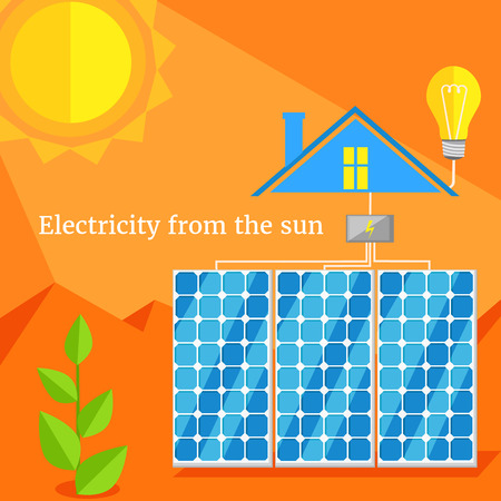 panels: Electricity from sun design flat. Solar energy, solar panels, sun power, sun energy house, environment power, ecology and eco, electric industry from nature illustration Illustration