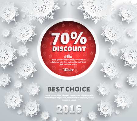 retail shopping: Winter discount best choice design flat. Sale and coupon, offer shopping, promotion and save money, winter christmas,  label and price, advertising buy, special retail illustration Illustration