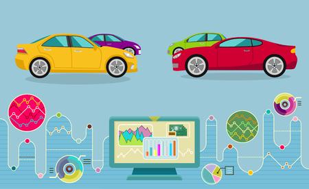 car driving: Auto diagnostics monitor flat concept.  Illustration