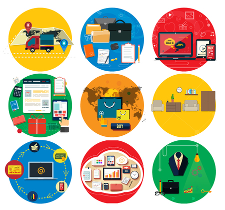 tool: Business online, social media, delivery concept. Marketing tool, startup idea, document and media social, delivery and promotion, shop internet illustration