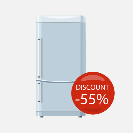 freezer: Sale of household appliances. Electronic device with red bubble with discount percentage. Sale badge label. Home appliances in flat style. Refrigerator, fridge magnet fridge door, sale fridge, freezer