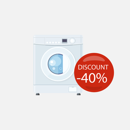 electronic device: Sale of household appliances. Electronic device with red bubble with discount percentage. Sale badge label. Home appliances in flat style. Laundry, washing, washing machine isolated, washing machine