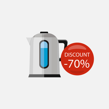 electrical appliances: Sale of household appliances. Electronic device with red bubble discount percentage. Sale badge label. Home appliances in flat style. Water kettle, electrical appliances, silver kettle, water boiler Illustration