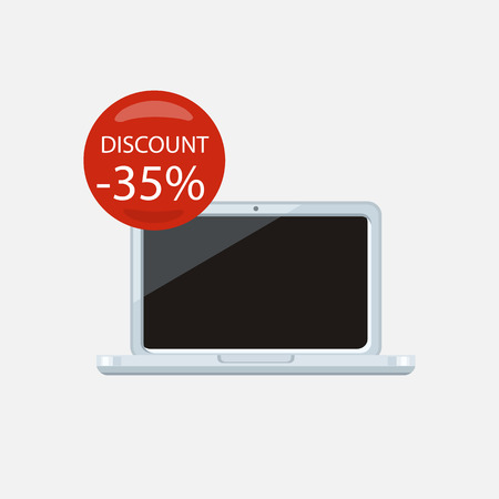 laptop isolated: Sale of household appliances. Electronic device with red bubble discount percentage. Sale badge label. Home appliances in flat style. Computer, laptop isolated, notebook, laptop icon, laptop screen Illustration