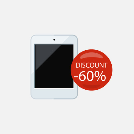 ereader: Sale of household appliances. Electronic device with red bubble discount percentage. Sale badge label flat style. Book, ereader, ebook icon, ebook reader, kindle, tablet, ebook cover, library