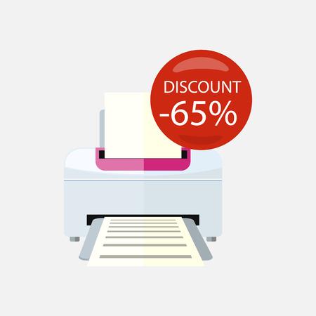 office appliances: Sale of household appliances. Electronic device red bubble discount percentage. Sale badge label. Office appliances flat style. Printing, printer icon, printing press, office printer, computer, copier