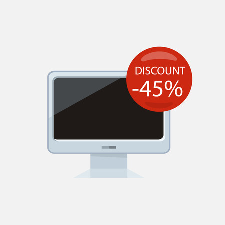 screen tv: Sale of household appliances. Electronic device with red bubble discount percentage. Sale badge label. Home appliances in flat style. Computer, computer monitor, laptop, monitor icon, screen, tv
