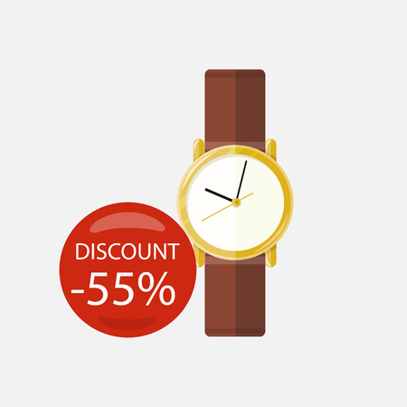 jewelry store: Sale of household appliances. Electronic device red bubble discount percentage. Sale badge label in flat style. Clock, wrist watch, time, hand watch, jewelry, woman watch, pocket watch, luxury watch