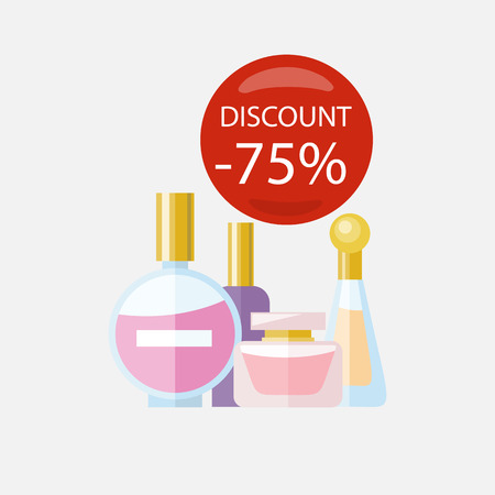 parfume: Sale of household appliances. Red bubble discount percentage. Sale badge label. Group parfume bottle flat style. Perfume, parfume bottle, cosmetics, woman parfume, fragrance, man parfume, smell Illustration