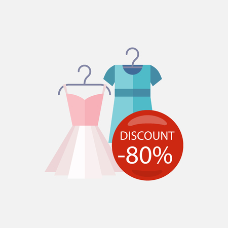 fashion dress: Sale of pinup cute woman dresses red bubble discount percentage. Sale badge label. Lady dress in flat style. Clothes, fashion, dress isolated, woman dress, fashion dress, skirt