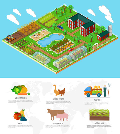 farmhouse: Isometric 3d icon flat farm agriculture. Field and nature organic, tree growth, natural garden, plant and harvest, rural and farmhouse, cow and greenhouse illustration. Infographic elements