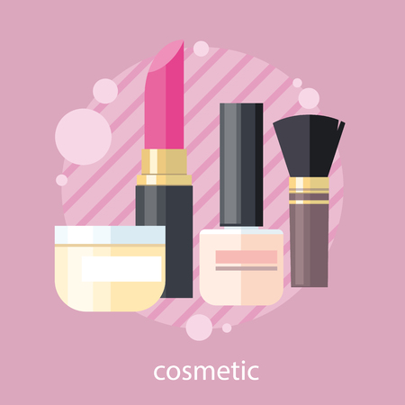 cosmetic products: Cosmetic set flat design object. Beauty makeup, cosmetic products, cosmetics package, lipstick and perfume, spa fashion, brush product, glamour bottle, shampoo and powder illustration banner