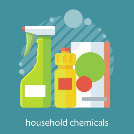 orden y limpieza: químico de hogar diseño plano. electrodomésticos, artículos para el hogar, el hogar y la botella, equipo limpio, el trabajo doméstico y de limpieza, jabón y detergente bandera ilustración