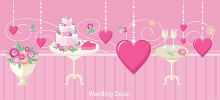 wedding reception decoration: Wedding decor fashion interior. Wedding decoration, wedding table, wedding flowers, wedding design, interior and reception, fashion elegant, event and decoration illustration banner