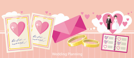Wedding planning design flat fashion. Wedding planner, event planning, wedding invitation, plan and wedding cake, holiday decoration, marriage event illustration banner Illustration