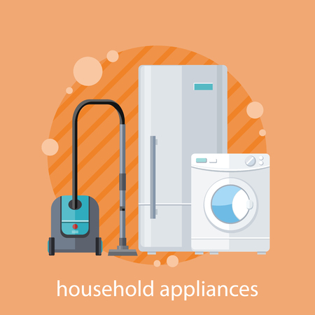 Household appliances flat design. Household items, washing machine, kitchen appliances, equipment and kitchen, machine and stove, cooking domestic, microwave electric illustration banner