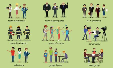 bombero: Diferentes grupos de abogados personas bombero Vectores