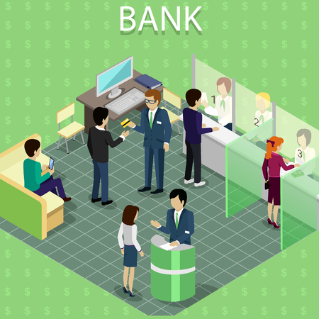 Isometric interior of the bank with people. Ilustracja