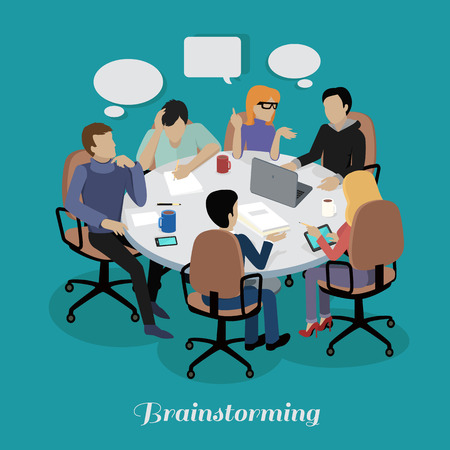 discussion: Meeting and discussion briefing. Business meeting, conference and meeting room, business presentation, office teamwork, team corporate, workplace discussing illustration