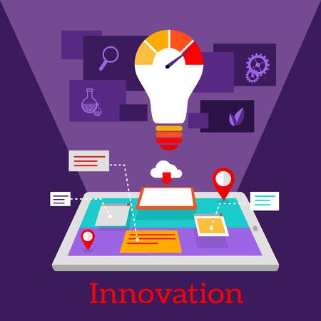 computer screen data: Innovation digital flat design.
