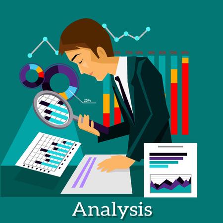 business analysis: Man analysis infographic and data.