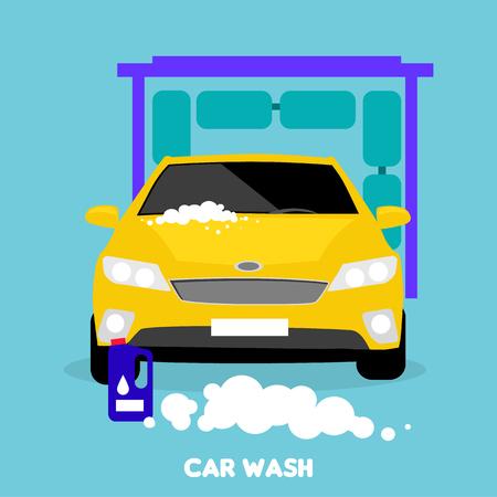 car body: Car wash flat concept icon.