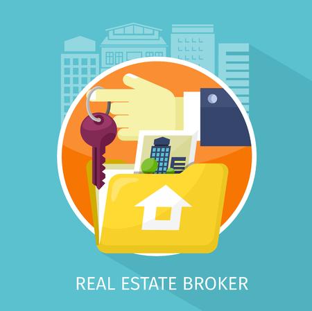 broker: Inmobiliario apartamento de diseño corredor. Vectores
