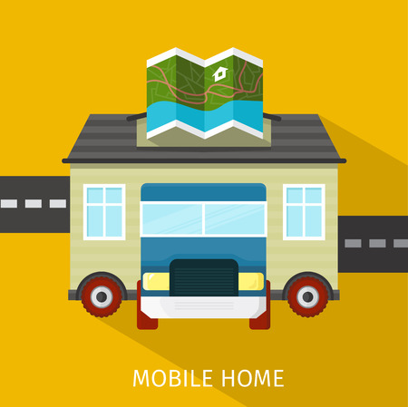 manufactured: Mobile home flat design banner. Caravan and manufactured home, trailer home, camper and house, exterior residential, architecture facade, real estate transportation illustration